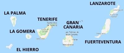 Cartina Delle Canarie.Mappa Delle Isole Canarie Le Piu Belle E Suggestive Isole